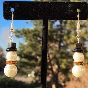 White and Orange Glass Pearl Snowman Earrings
